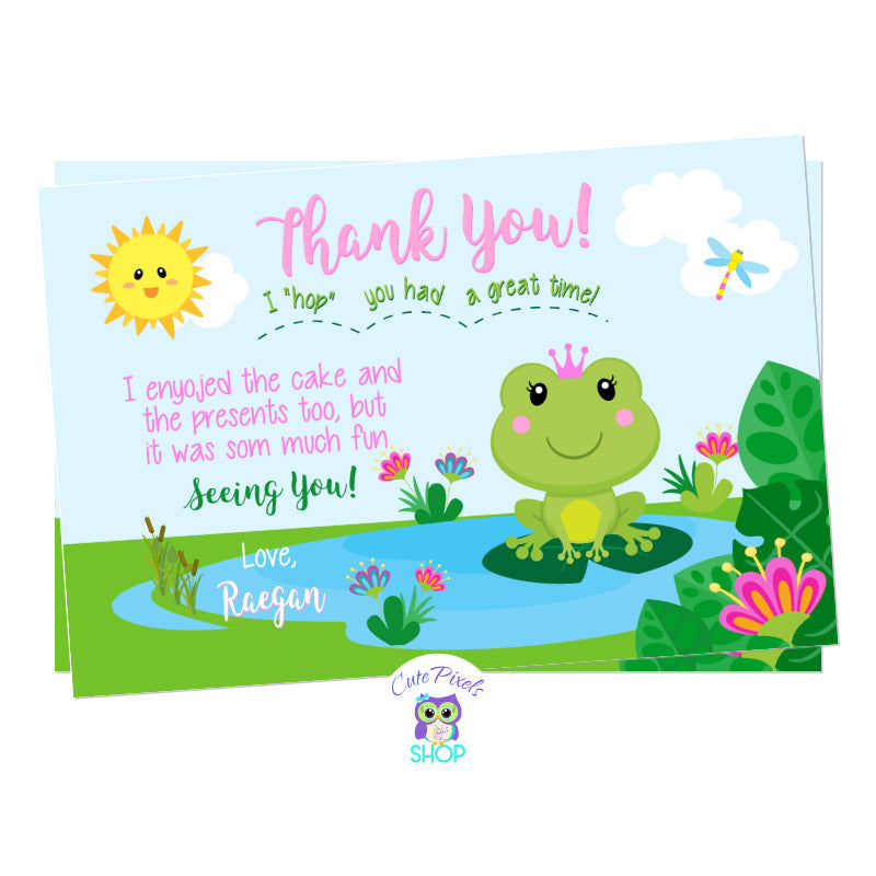 Frog thank you card, cute princess frog card with a cute frog wearing a crown in a pond, pink and green colors.