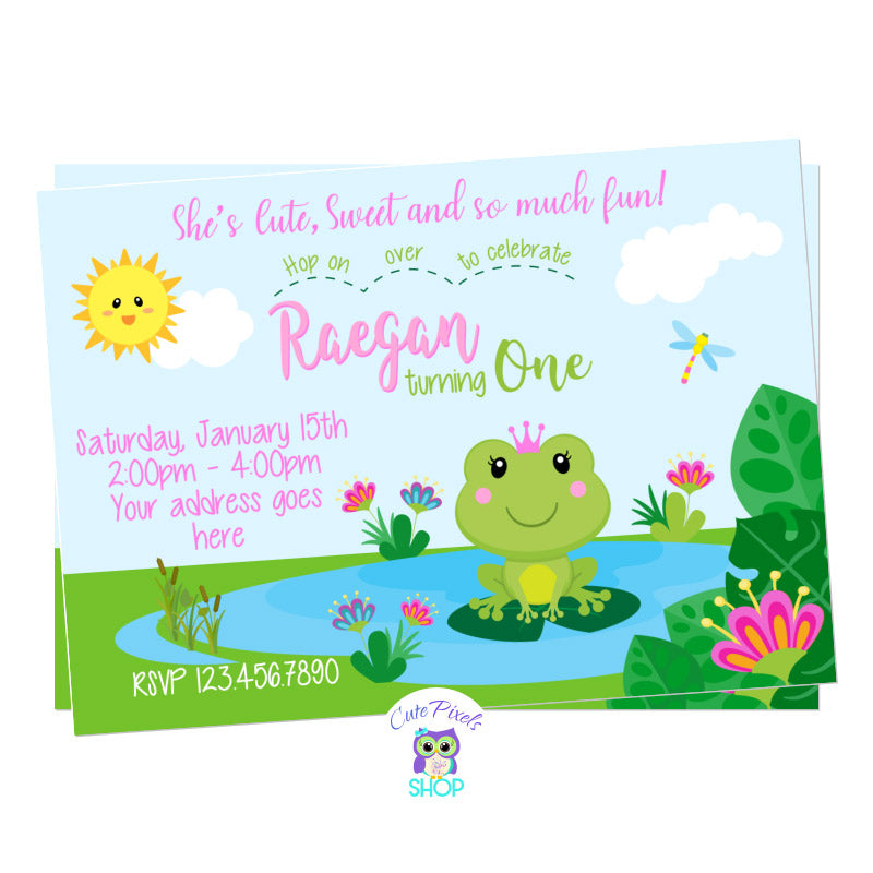 Frog birthday invitation, cute princess frog birthday invitation with a cute frog wearing a crown in a pond, pink and green colors