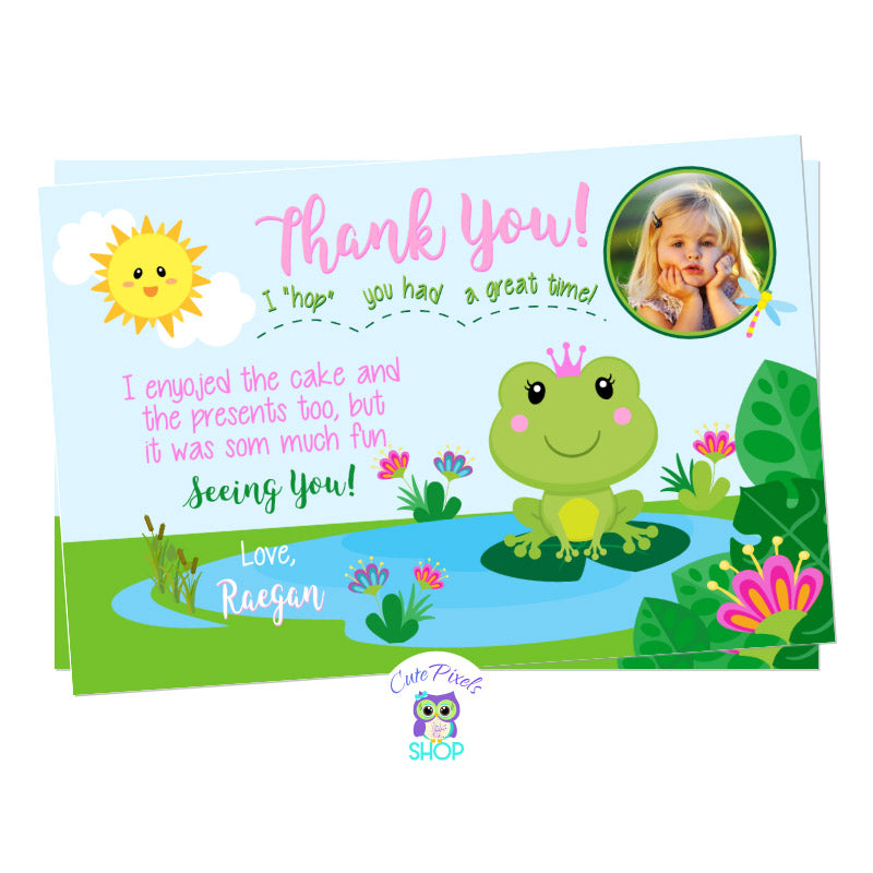 Frog thank you card, cute princess frog card with a cute frog wearing a crown in a pond, pink and green colors. Includes Child's photo.