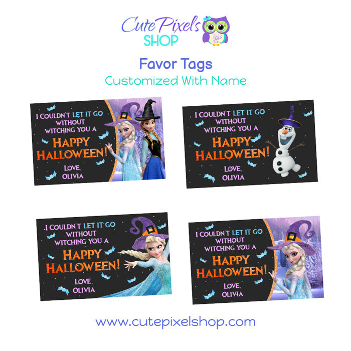 Frozen Halloween Favor Tags, customized with name