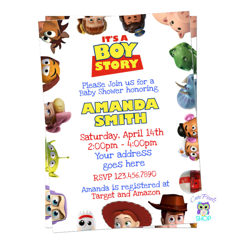 Toy Story Baby shower invitation. It's a boy story baby shower with all toy story friends around in a white background