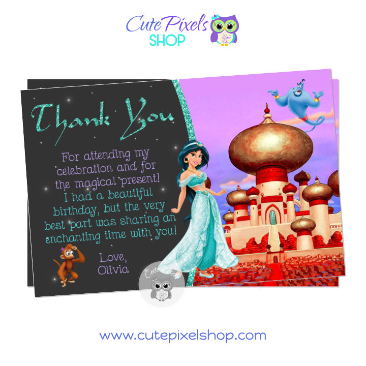 Princess Jasmine Thank You Card for an Aladdin Birthday Party with Jasmine, Genie and Abu, Castle Design