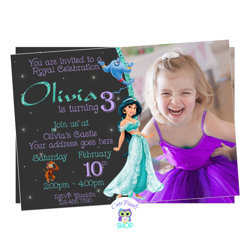 Princess Jasmine Invitation for an Aladdin Birthday Party with Jasmine, Genie and Abu, Includes Child's Photo