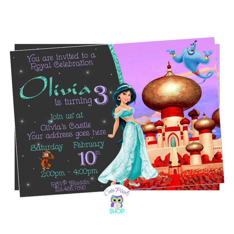 Princess Jasmine Invitation for an Aladdin Birthday Party with Jasmine, Genie and Abu, Castle Design
