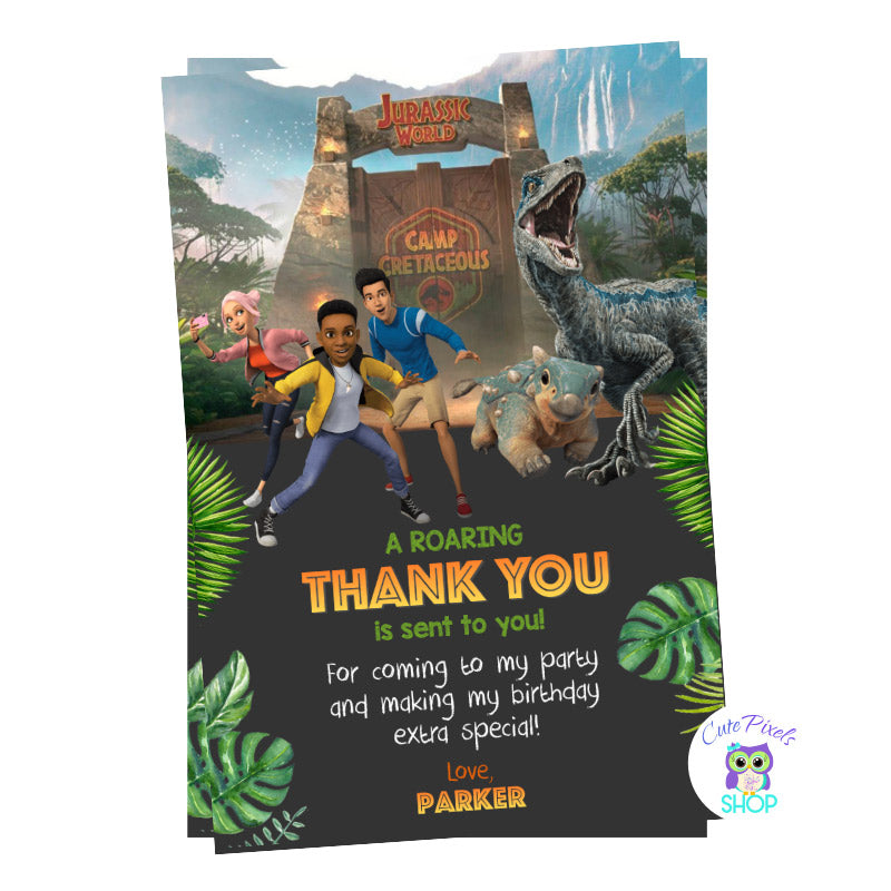 Jurassic World Thank You Card with Dinosaur Blue on it. Camp Cretaceous entrance, campers and bumpy! For a Dinosaur way to say thanks at Jurassic park!