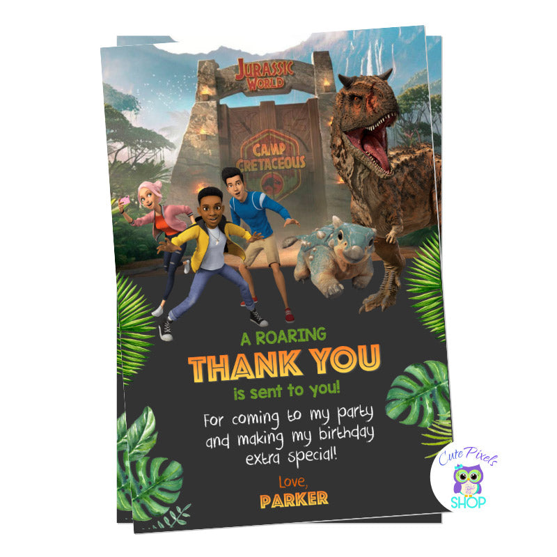 Jurassic World Thank You Card with Dinosaur Toro on it. Camp Cretaceous entrance, campers and bumpy! For a Dinosaur way to say thanks at Jurassic park!