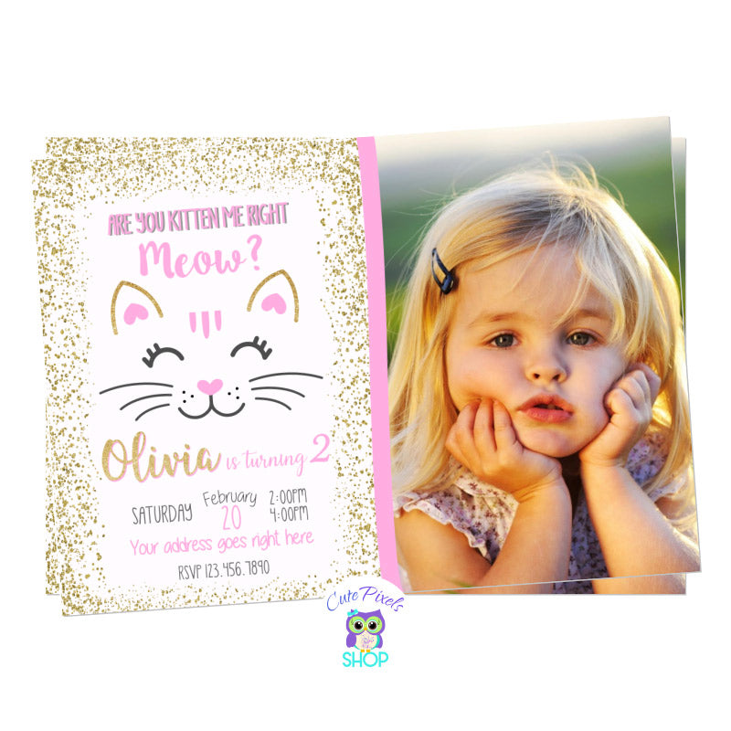 Cat Birthday Invitation in gold glitter, are you kitten me right meow? and a cute cat silhouette for a kitty lover, includes child's photo