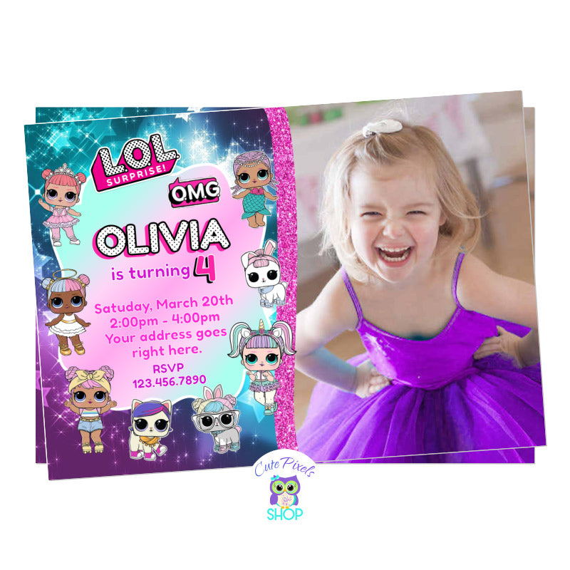 LOL Surprise invitation with many LOL Surprise dolls and child's photo for a LOL Surprise Birthday