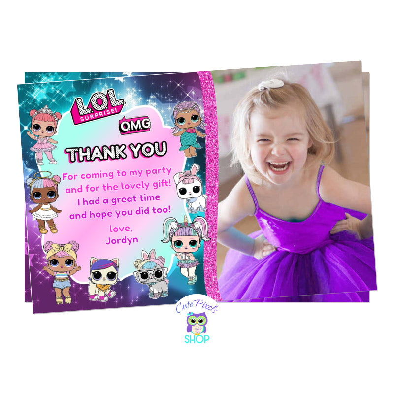 LOL Surprise thank you card with many LOL Surprise dolls and child's photo for a LOL Surprise Birthday