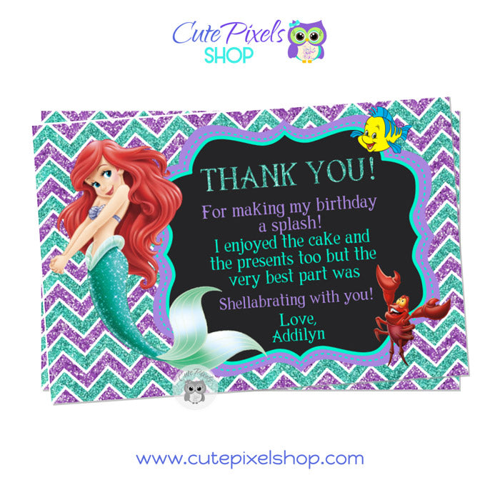 The Little Mermaid Thank You Card Chalkboard