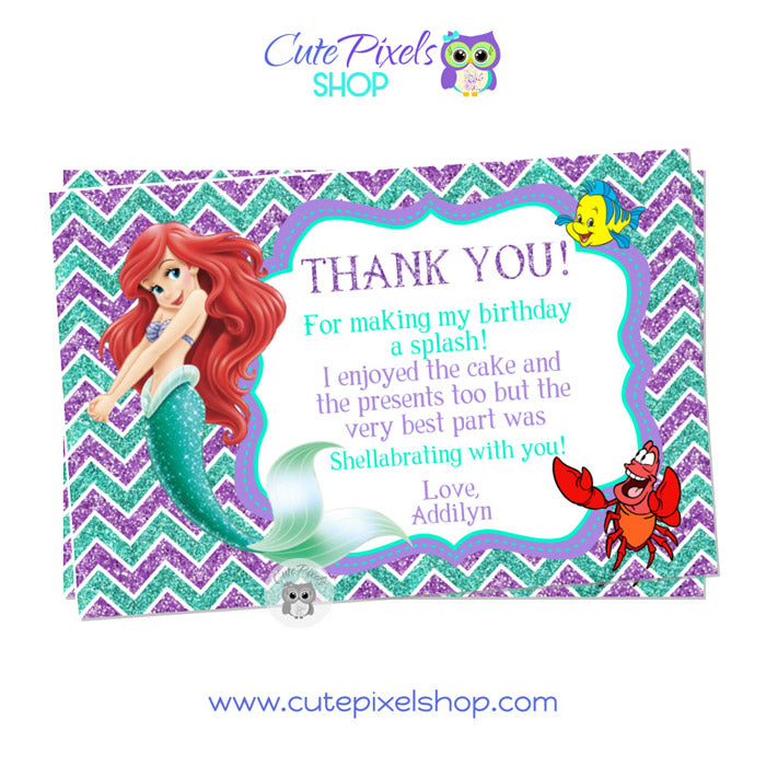 The Little Mermaid Thank You Card White