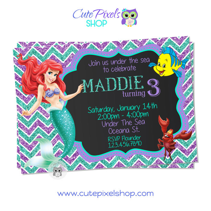 The Little Mermaid Invitation Chalkboard