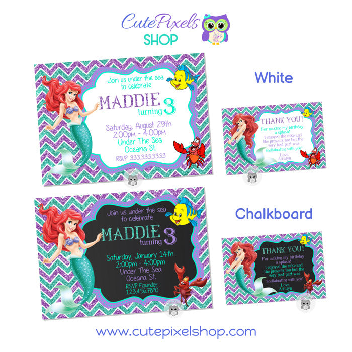 The Little Mermaid Invitation Set Style 01