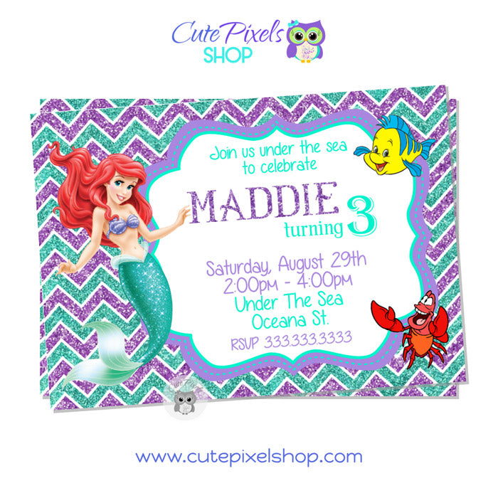 The Little Mermaid Invitation White