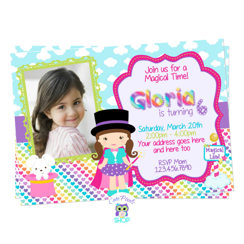 Magic Party invitation for a little magician birthday girl full of rainbow colors and magic, blue clouds magical background