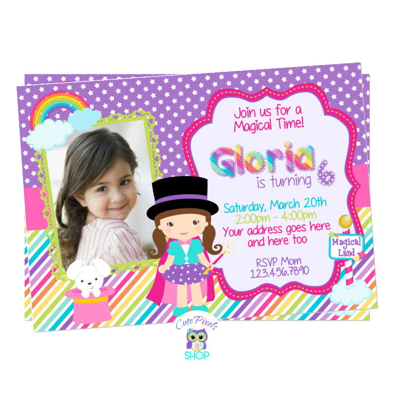 Magic Party invitation for a little magician birthday girl full of rainbow colors and magic, purple stars background