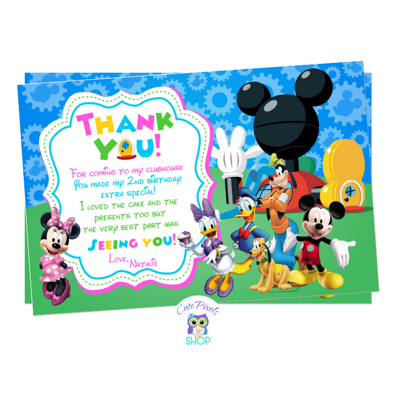 Mickey Mouse clubhouse thank you card with all mickey mouse friends, pink design