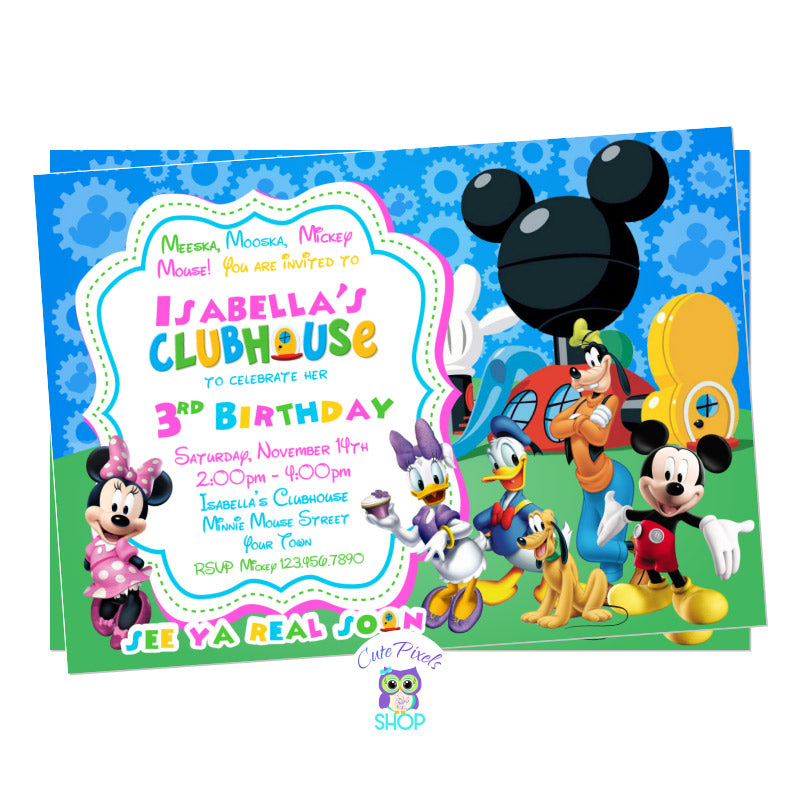 Minnie Mouse Invitation in pink with all Mickey Mouse Clubhouse friends ready to party and celebrate your child's birthday