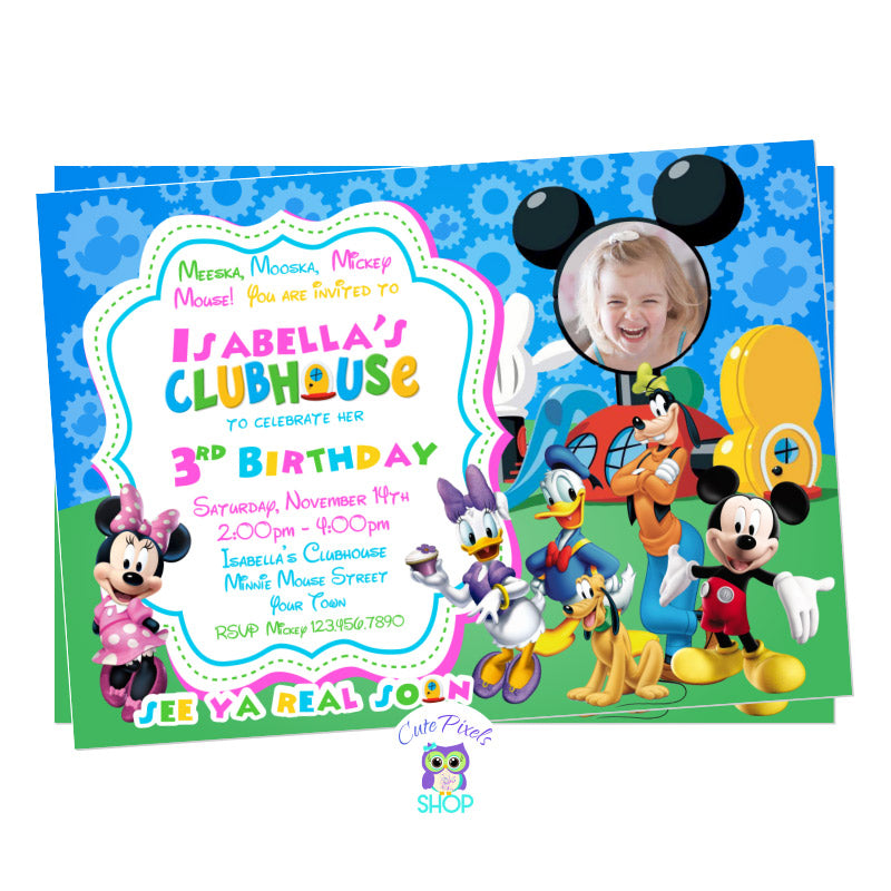 Minnie Mouse Invitation in pink with all Mickey Mouse Clubhouse friends ready to party and celebrate your child's birthday. Includes child's photo