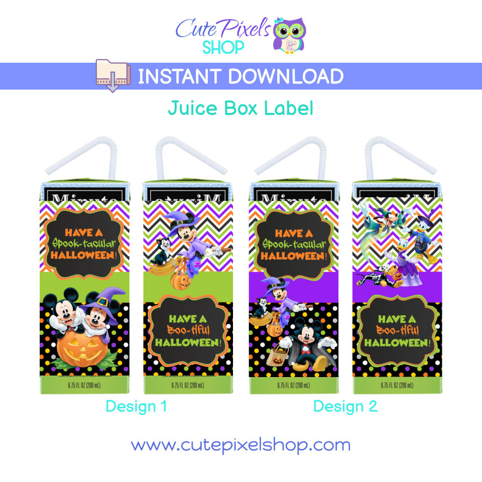 Mickey Mouse Halloween Juice Box Labels, the perfect drink labels for your Halloween!