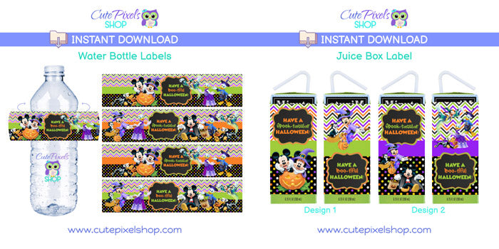 Mickey Mouse Halloween Juice Box Labels - Instant Download