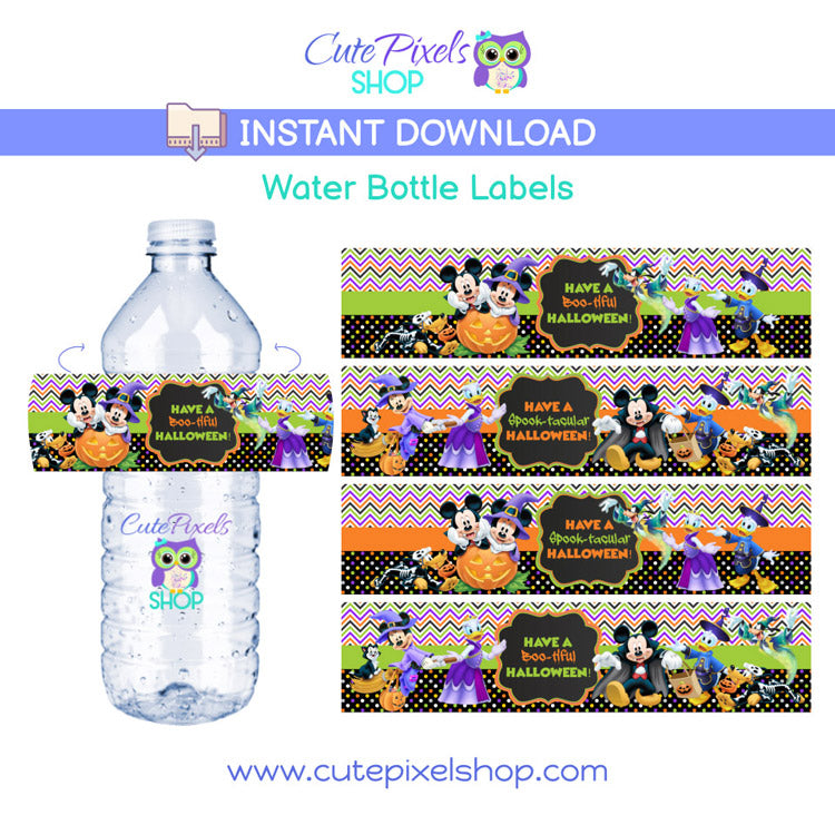 Mickey Mouse Clubhouse Water Bottle labels for Halloween