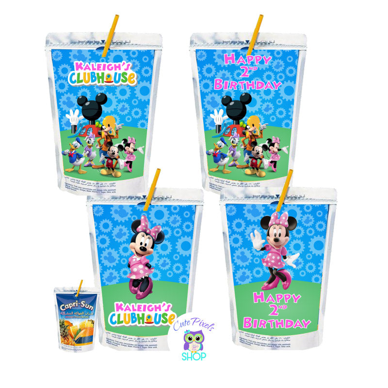 Mickey Mouse Capri Sun Labels for a Mickey Mouse Clubhouse Birthday customized with child's name as the Mickey Mouse clubhouse logo with Minnie Mouse and friends, text in pink. Labels for Capri Sun pouches