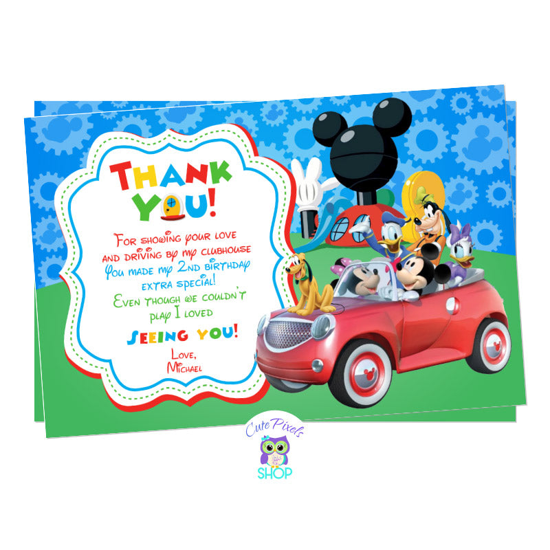 Mickey Mouse Drive By Birthday Parade Thank You Card. Mickey Mouse and the clubhouse friends in a car ready for a Drive By Birthday parade