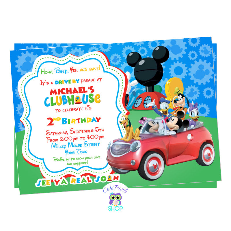 Mickey Mouse Drive By Birthday Parade Invitation. Mickey Mouse and the clubhouse friends in a car ready for a Drive By Birthday parade