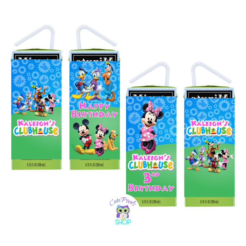 Mickey Mouse Juice Box Labels for a Mickey Mouse Clubhouse Birthday customized with child's name as the Mickey Mouse clubhouse logo with Minnie Mouse and friends, text in pink. Labels for juice Boxes