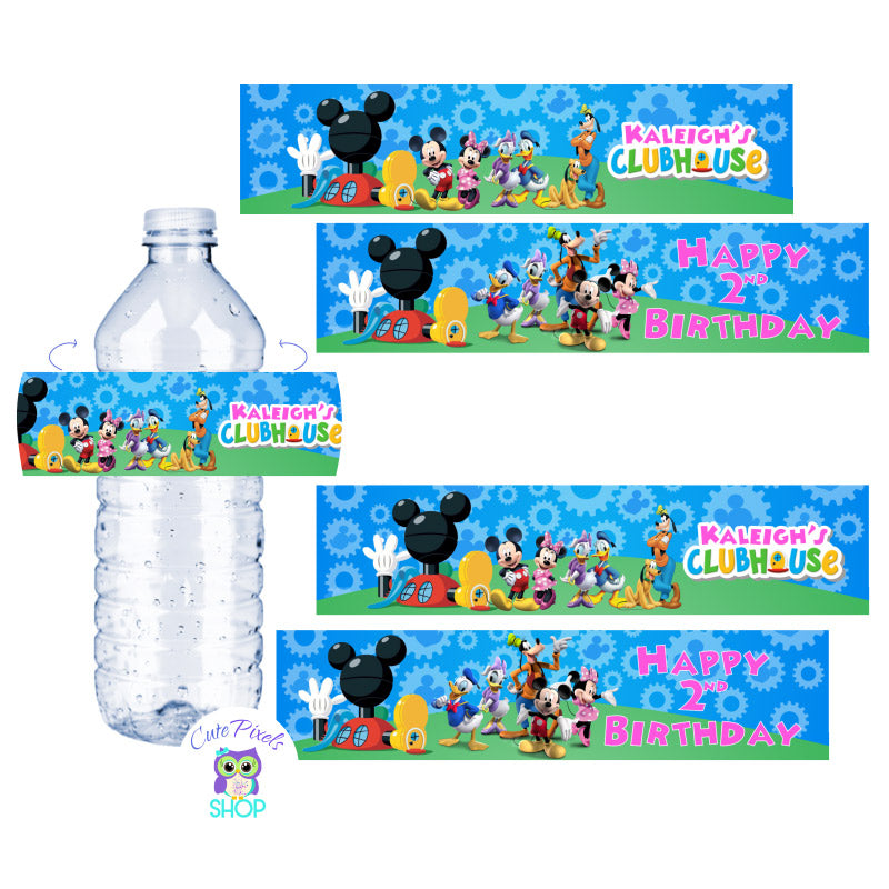 Mickey Mouse Water Bottle Labels for a Mickey Mouse Clubhouse Birthday in pink customized with child's name as the Mickey Mouse clubhouse logo with Minnie Mouse and friends, text in pink. Labels for Water Bottles or drink bottles