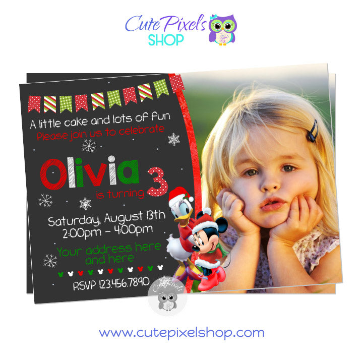 Minnie Mouse and Daisy Duck Christmas Birthday Invitation with photo