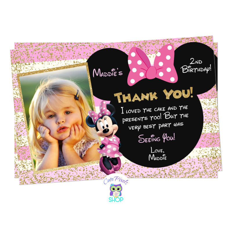 Minnie Mouse Thank You Card in Pink and Gold for a Cute Minnie Mouse Birthday Party, includes child's photo, text in a Minnie head with bow, lots of gold glitter and pink