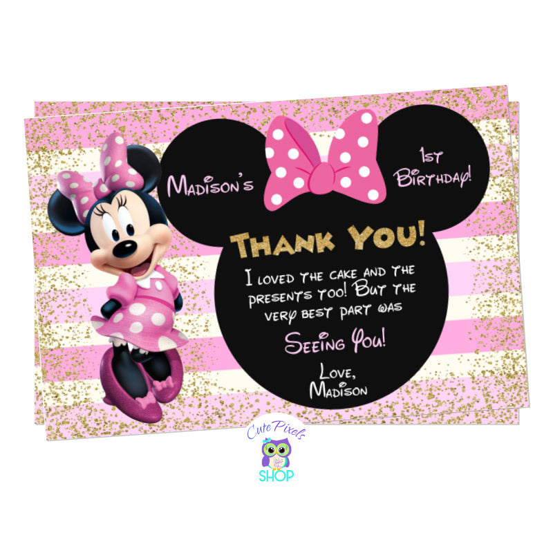 Minnie Mouse Thank You Card in Pink and Gold for a Cute Minnie Mouse Birthday Party, includes text in a Minnie head with bow, lots of gold glitter and pink