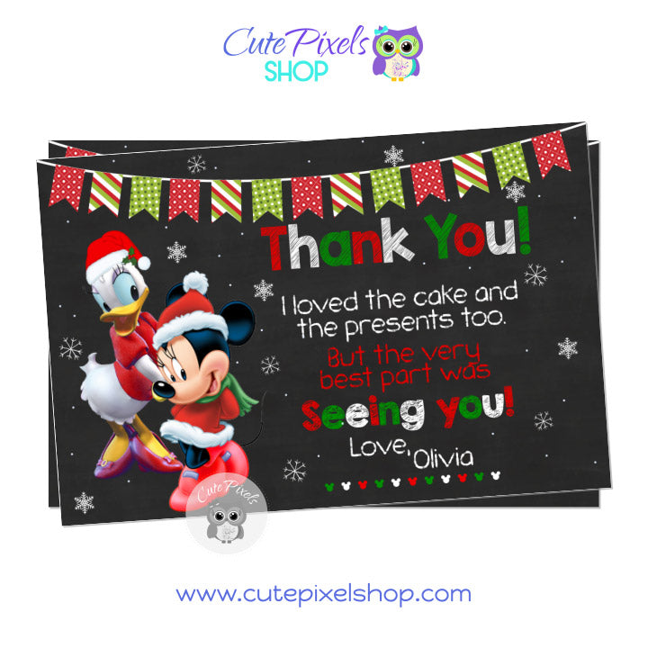 Minnie Mouse and Daisy Duck Christmas Birthday Thank You Card