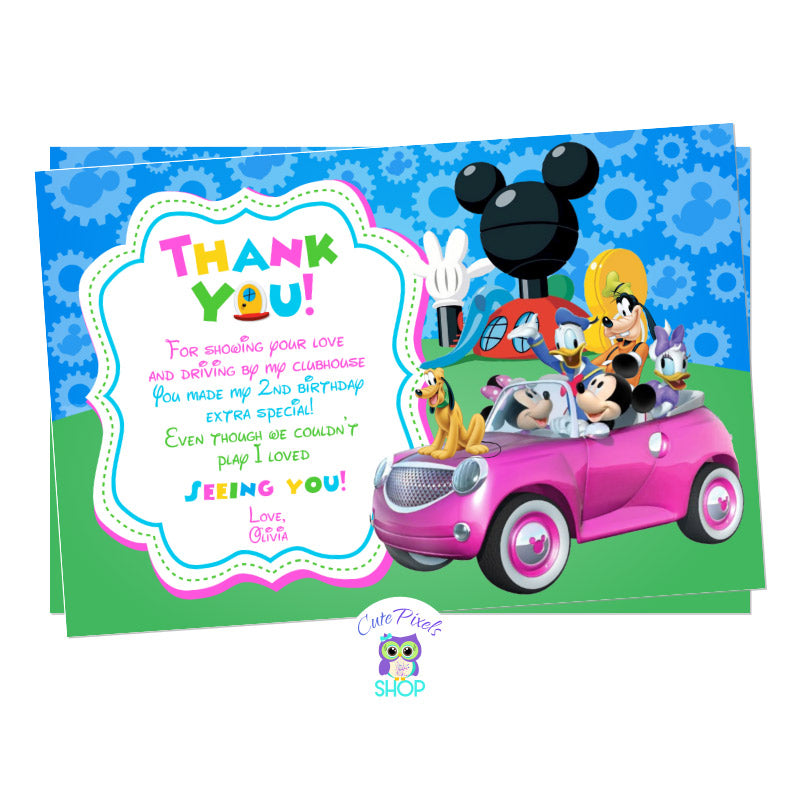 Minnie Mouse Drive By Birthday Parade Thank You Card. Mickey Mouse and the clubhouse friends in a car ready for a Drive By Birthday parade