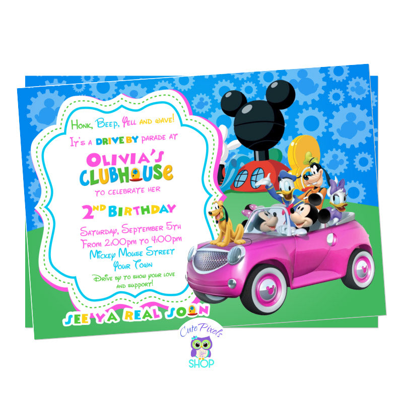 Minnie Mouse Drive By Birthday Parade Invitation. Mickey Mouse and the clubhouse friends in a car ready for a Drive By Birthday parade