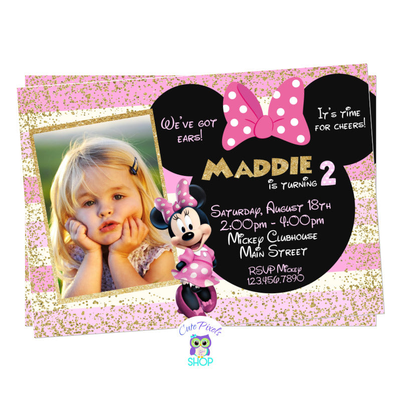 Minnie Mouse Invitation in Pink and Gold for a Cute Minnie Mouse Birthday Party, includes child's photo, text in a Minnie head with bow, lots of gold glitter and pink