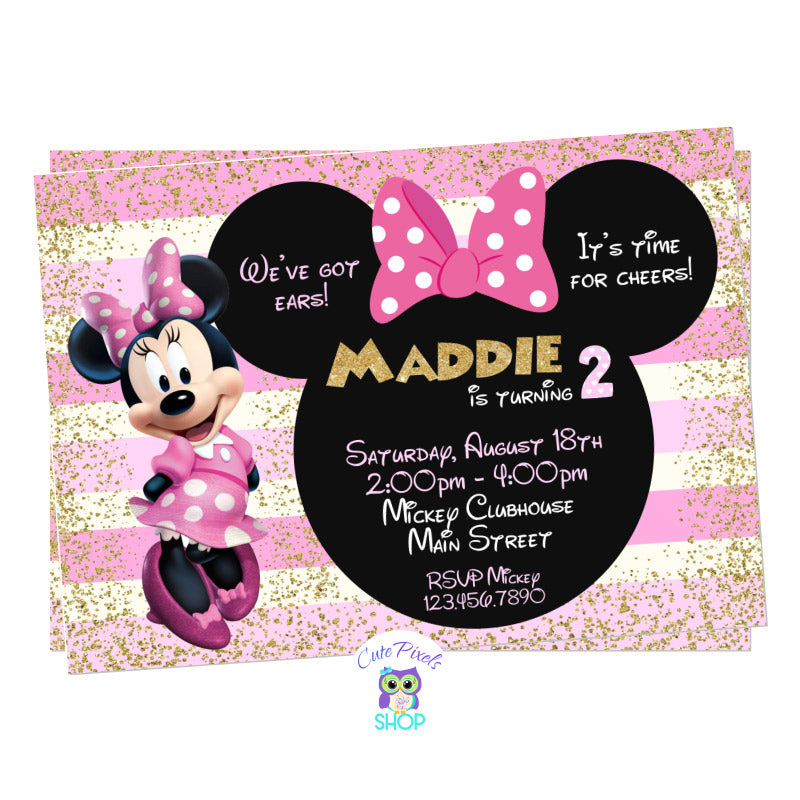 Minnie Mouse Invitation in Pink and Gold for a Cute Minnie Mouse Birthday Party, includes text in a Minnie head with bow, lots of gold glitter and pink