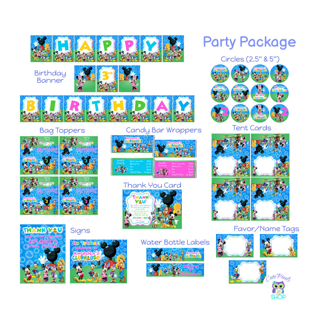 Minnie Mouse Party decorations for a Mickey Mouse clubhouse birthday party. Includes Birthday Banner, Cupcake toppers, Bag toppers, Cand Bar Wrappers, Place cards, signs, water bottle lables and favor tags