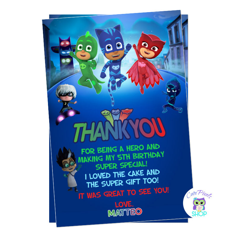 PJ Masks thank you card with al PJ Masks characters, Dusk background with Gekko, Catboy, Owlette, Luna girl, Romeo and night ninja.