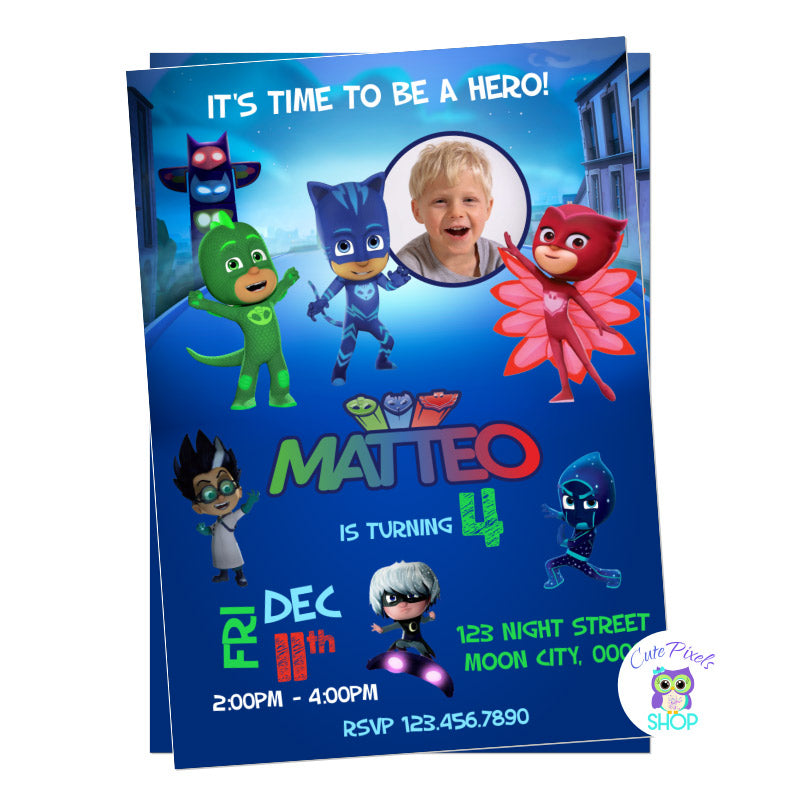 Pj Masks Birthday inivtation with photo, it has all PJ Masks characters to have the perfect super hero birthday