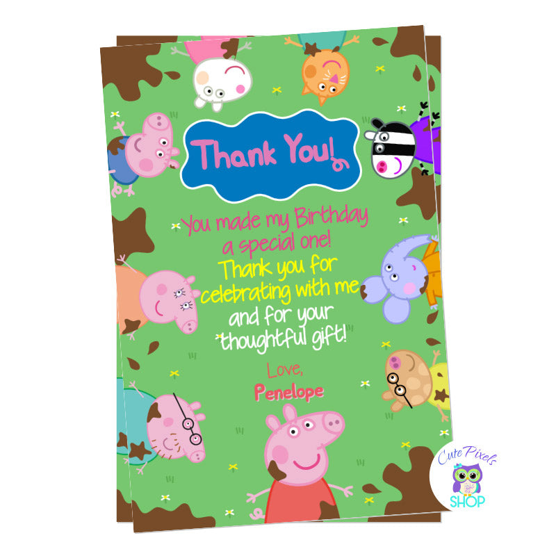 Peppa Pig thank you card for a Muddy Puddle birthday with Peppa Pig, Pig Family and friends around in a Muddy Puddle green background
