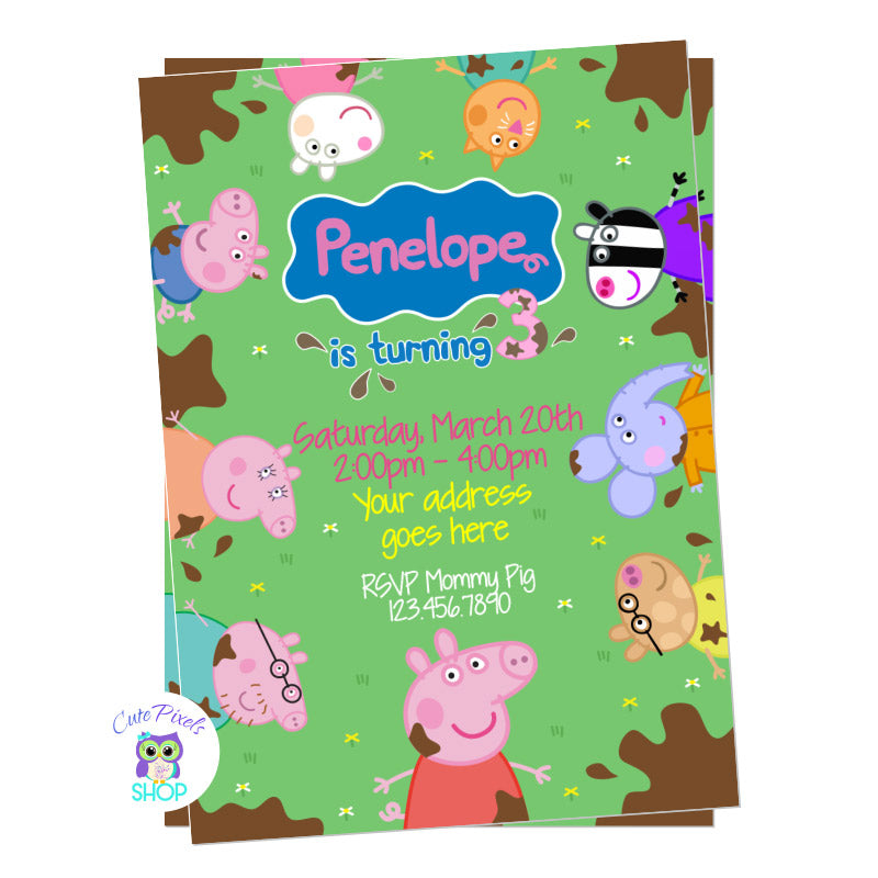 Peppa Pig Invitation, Muddy Puddles Birthday Invitation. Peppa Pig, pig family and frioends around invitation