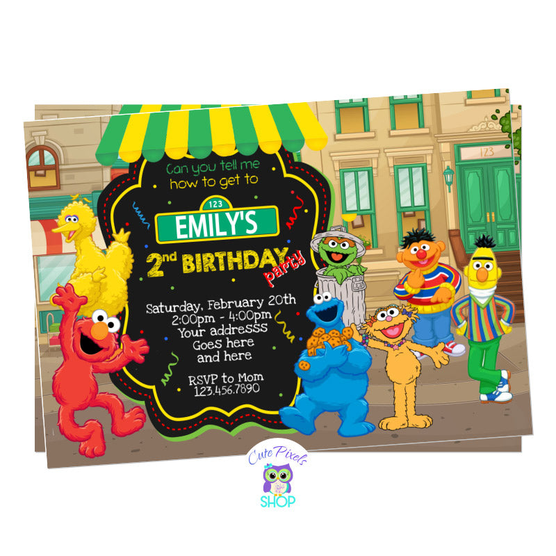 Sesame Street Birthday Invitation in a Sesame Street neighborhood background, having Elmo, Bert. Ernie, Abby, Zoe, Cookie Monster, Big Bird and Oscar