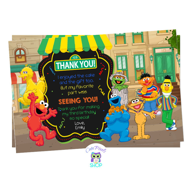 Sesame Street Birthday Thank You Card in a Sesame Street neighborhood background, having Elmo, Bert. Ernie, Abby, Zoe, Cookie Monster, Big Bird and Oscar