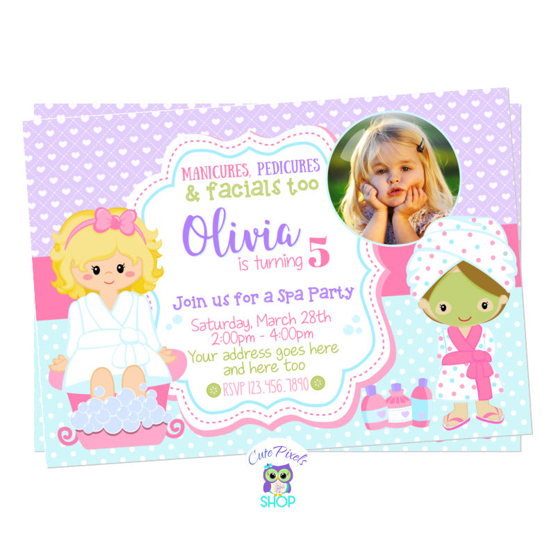 Spa Invitation for a Spa Birthday Party with two girls in a spa outfit and cute colors. Includes Child's Photo