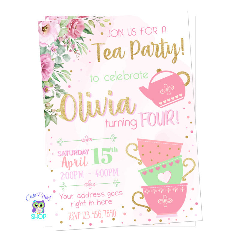 Tea Party Invitation for cute Tea Birthday Party, with a watercolor pink background, pink flower, tea cups and a tea pot, with touches of gold.