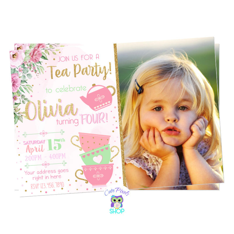 Tea Party Invitation for cute Tea Birthday Party, with a watercolor pink background, pink flower, tea cups and a tea pot, with touches of gold. Includes child's photo.