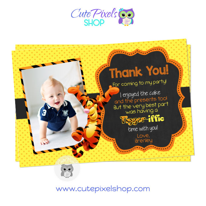 Tigger Thank You Card, Winnie the Pooh Birthday, Yellow and Orange
